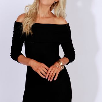 Off The Shoulder Ribbed Dress Black