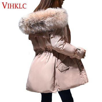 Winter Parkas Coat 2017 Women Puffer Jacket Goose Feather Fur Fashion Hood Warm Plus Size Long Parka Solid Color Outerwear L179