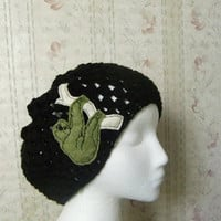 Womens Black Crochet Slouchy Beanie Hat with Sloth Patch Applique