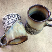 Espresso Cups, Set of Two Small Mugs in Green Crystalline Glaze, Double Shot Size Makes a Unique Handmade Gift. 3 in. Tall. Food Safe