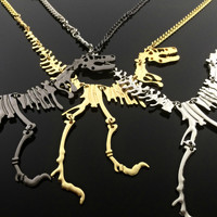 Dinosaur Necklace Jurassic Park Necklace T-Rex Steampunk Necklace Jurrassic World Gothic Jewelry Fossil Necklace