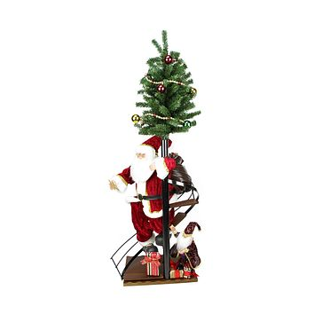 "50"" Santa Claus on Spiral Staircase with Tree and Elf Christmas Figure on Wooden Base"