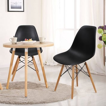 Modern Dining Chairs with Birch Wood Legs (Set of Two) Black