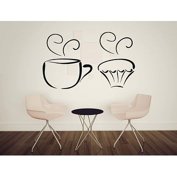 Vinyl Decal Kitchen and Food Decor Wall Sticker Tea Cup Delicious Sweet Cupcakes Decorative Unique Gift (n408)