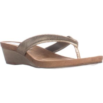 SC35 Haloe2 Wedge Thong Sandals, Champagne, 6 US