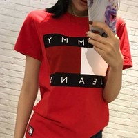DCCKR2 Tommy Jeans Stylish Ladies Men Logo Print Round Collar T-Shirt Pullover Top Red I
