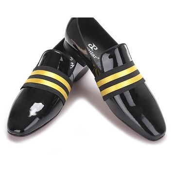 Handmade Men Patent leather Shoes Lace-Up Wear Comfortable Men Dress Wedding Shoes Prom Men's Loafers