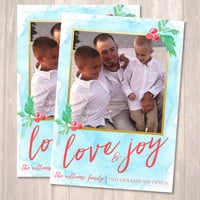 Love & Joy Holiday Cards, Photo Christmas Cards, Watercolor Card - PRINTABLE - Digital File