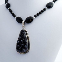 Teardrop Druzy Onyx Pendant Necklace, Beaded Necklace, Statement Jewelry