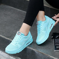 Fashion Breathable Women Shoes 2017 Spring/autumn Women Casual Shoes Outdoor Walking Shoes Women Lace-up Wedge Shoes Pink