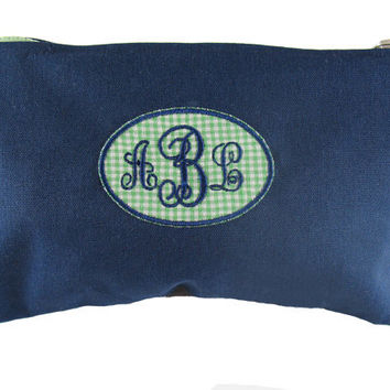 Monogrammed Navy and Green Gingham Bag/Pouch/Cosmetic