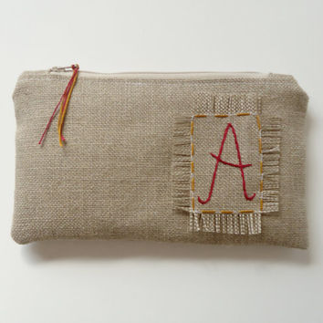 Bridesmaids Gift - Red Gold Personalized Burlap Zipper Clutch - Monogram Bag - Rustic Burlap Wedding