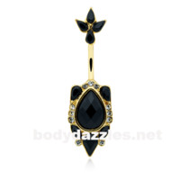 Golden Elegant Victorian Flourish Belly Button Ring 14ga Navel Ring Body Jewelry