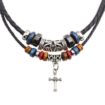 Double Root Beaded Cross Necklace Leather Cord Necklace Men Jewelry