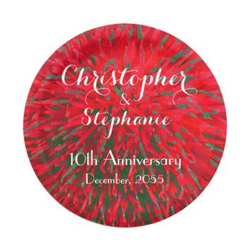 Red Green Christmas Wedding Anniversary Party Paper Plate