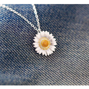 Sunflower necklace,sterling silver sunflower pendant necklace,silver flower necklace,blossom necklace,silver flower pendant flower jewelry