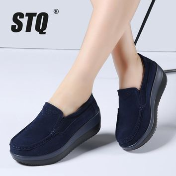 STQ 2017 Autumn women flat platform shoes leather suede ladies casual shoes slip on fl