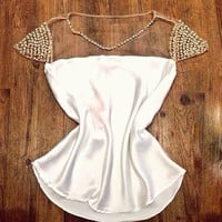 White Beaded Mesh Patchwork Shirt