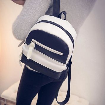 Casual Women Leather & Canvas Patchwork Backpacks for Teenage Girl School Bag Ladies Shoulder Bags Small Rucksack Bolsas