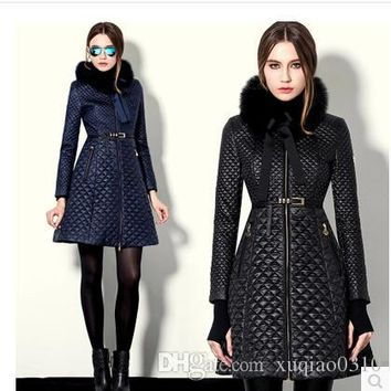 winter coat women slim outerwear coats leather fur collar leather clothing trench female thickening wadded jacket outerwear