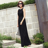 Round Neck Sleeveless Drawstring Maxi Dress
