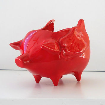 Ceramic When Pigs Fly Pig Planter Vintage Design in Chili Pepper Red Flying Pig