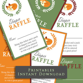 Woodland Fox Diaper Raffle Tickets INSTANT DOWNLOAD Printable Raffle Tickets Baby Shower Insert Card DIY