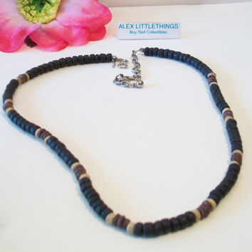 Brown Beaded Surfer Necklace Boho Unisex