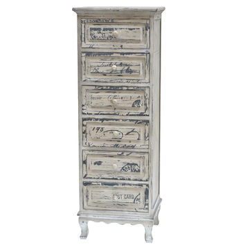 Crestview French Script Painted 5 Drawer Tall Chest - CVFZR775