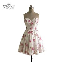 2018 New Fashion 3D Floral Print Short Prom Dresses Sweetheart Above Mini Girls Homecoming Party Gown Custom Made