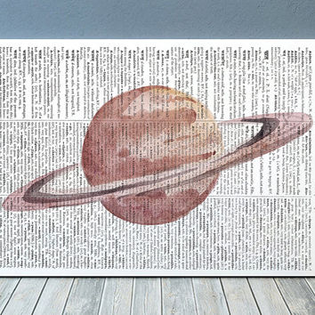 Saturn poster Watercolor print Dictionary print Space decor RTA2200