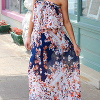 Summer Florals Maxi Dress {Navy}