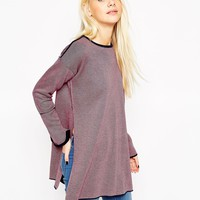 ASOS Knitted Tunic in Contrast Plated Rib With Seam Detail and Side Splits