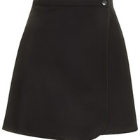 Melton Wool Wrap Mini Skirt by Boutique - Navy Blue