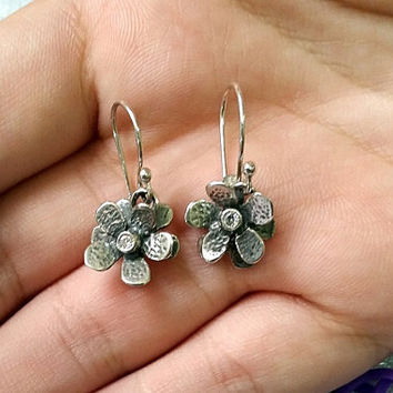 10% off- SALE! Small flower earrings , Flower earrings , double flower earrings , flower jewelry , dangle earrings , hammered  earrings