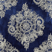 Cream Floral Moroccan Pattern on Deep Indigo Ink Art Print by Micklyn
