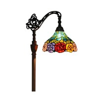 "Amora Lighting AM035FL12 Tiffany Style 62"" Roses Reading Floor Lamp"