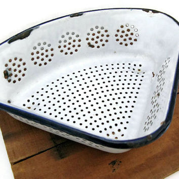 Enamelware Kitchen Sink Drain, Blue and White Aladdin Enamelware Strainer