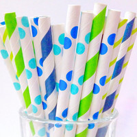 Short polka dot Straws, Blue & Green Paper 50 Cake Pop Party Boy's Birthday Baby Shower Cocktail Straw Summertime BBQ