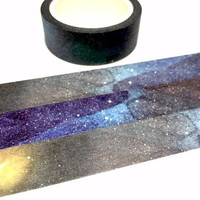 Outer space washi tape 8M fancy night crescent moon starry night masking tape SOLAR System Planets universe theme deco sticker