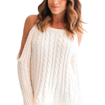 White Daring Cold Shoulder Cable Knit Sweater