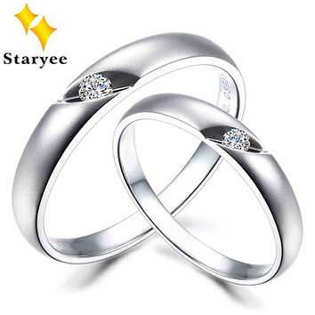 Fashion Genuine 18K Solid White Gold Couple Lovers Wedding Rings For Man Woman SI H 0.05 Carat Per Pair