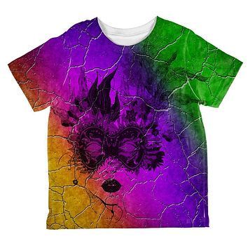 Mardi Gras Party Mask Distressed Grunge Flag All Over Toddler T Shirt