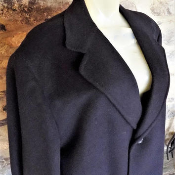 100% Cashmere, Men's Black Overcoat, Marshall & Reed, Tailored Exclusively for Hughes and Hatcher, Vintage Men's Coat