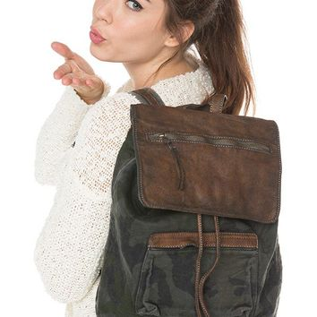 Brandy ♥ Melville    Washed Camo Leather Flap Backpack - Backpacks - Bags - Accessories
