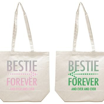Bestie Forever and Ever and Ever Girl BFFS Canvas Tote Bag