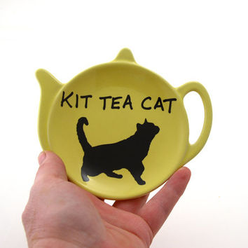 Cat teabag holder or trinket dish, Kit tea cat, teapot shaped dish, gifts under 10, yellow