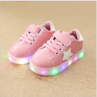 size 21-30 New Baby Girls boy LED Light Shoes Toddler Anti-Slip Sports Boots Kids Sneakers Children's Cartoon Cat Flats