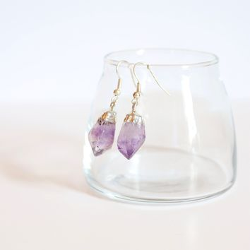 AMETHYST CRYSTAL EARRINGS - SILVER