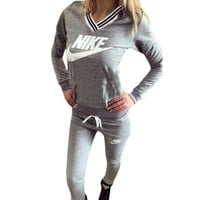 """Nike"" Multicolor Letter Print V-Neck Hooded Long Sleeve Sweater Trousers Set Two-Piece Sportswear"